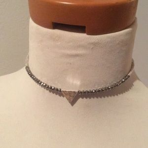 NWOT silver beaded Canvas choker necklace